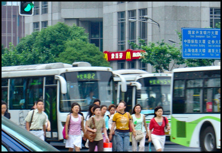 People and buses