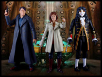 Captain Jack, Sarah Jane, and the Clockwork Man in the TARDIS!